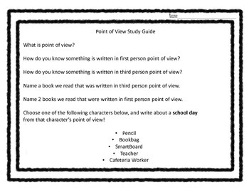 Point of View of Literary Text Unit for 3rd 4th and 5th grades