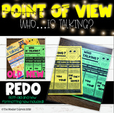 Point of View reading interactive notebook, CCSS, poster