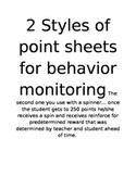 Point sheets for behavior