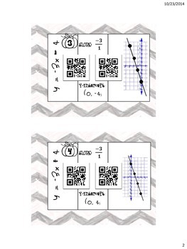 slope-intercept form foldable matching slope intercep to graph QR code activityt