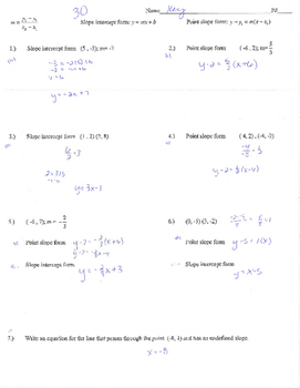 point slope form practice  Point slope form slope intercept form practice quiz test worksheet (A) mx+b