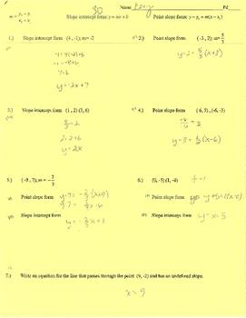 Point slope, slope intercept form writing equations practice quiz (web) mx+b
