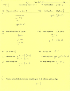 Point slope, slope intercept form writing equations practice quiz (web) mx+b