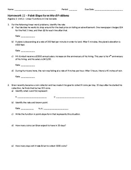 PointSlope Form Word Problems Homework