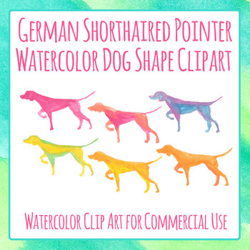 Pointer Dog Handpainted Watercolor Clip Art Set for Commercial Use