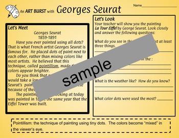 An Artist Worksheet - Georges Seurat (pointillism)