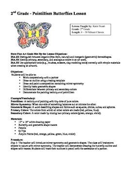Pointillism Butterflies Art Lesson Plan