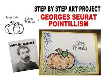 Pointillism Georges Seurat Pumpkin Fall Art Kids lesson step by step halloween