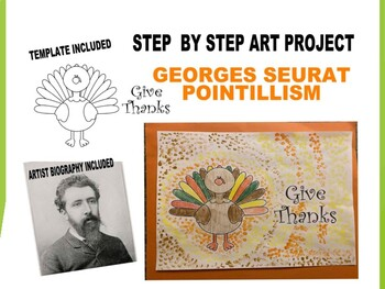 Pointillism Georges Seurat turkey thanksgiving kids art qtip project lesson