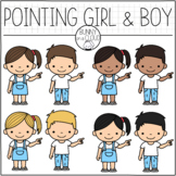 Pointing Girl and Boy Clipart by Bunny On A Cloud