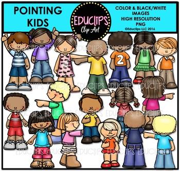 Pointing Kids Clip Art Bundle {Educlips Clipart}
