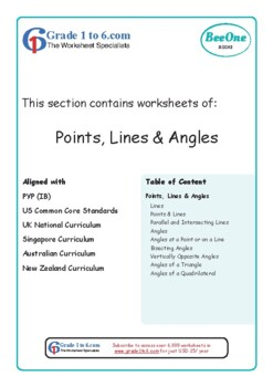 Points, Lines & Angles Grade 6 Maths from www.Grade1to6.com
