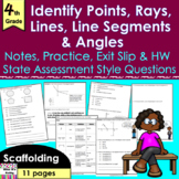 Points, Lines, Line Segments, Rays & Angles: notes, practice, exit slip, HW