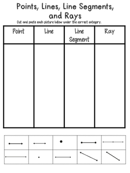 Points, Lines, Line Segments and Rays Sort