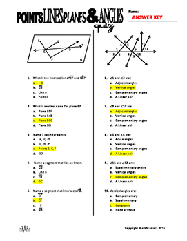 Points, Lines, Planes & Angles QUIZ