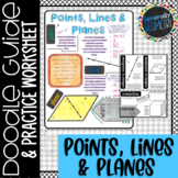 Points, Lines & Planes Doodle Guide & Practice Worksheet, Geometry