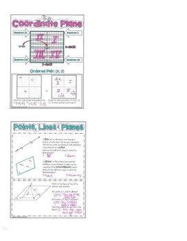 Points, Lines, & Planes Packet GEOMETRY Doodle Notes or Graphic Organizer