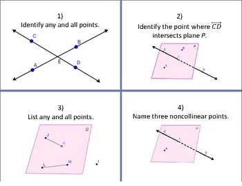 Points, Lines, Planes, Segments, Rays Task Cards and Foldable