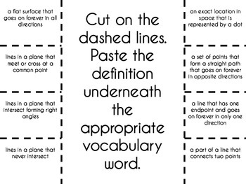 Points, Lines, & Planes Vocabulary Foldable