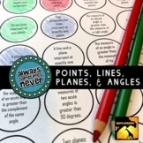 Points, Lines, Planes, and Angles: Always, Sometimes, or N