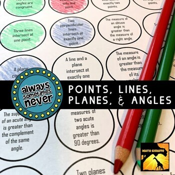 Points Lines Planes And Angles Always Sometimes Or Never FREE