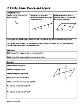 Points Lines Planes and Angles Lesson