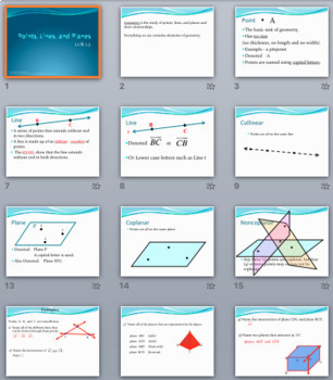 Points, Lines, Planes, and Angles – PowerPoint, Notes, and