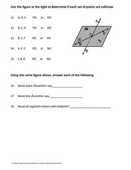 geometry worksheet points lines and planes by my. Black Bedroom Furniture Sets. Home Design Ideas
