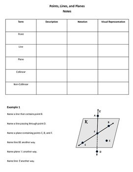 geometry worksheet points lines and planes by my geometry world. Black Bedroom Furniture Sets. Home Design Ideas