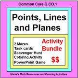 Points, Lines and Planes - BUNDLE(Task Cards,2 MAZES,Coloring ,Scavenger Hunt)