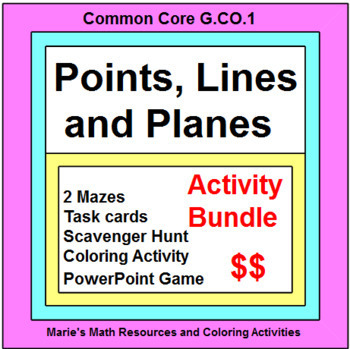 POINTS, LINES, PLANES: BUNDLE - TASK CARDS, MAZES, POWERP GAME, SCAVENGER HUNT