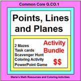 POINTS, LINES, PLANES: BUNDLE - TASK CARDS, MAZES, POWERP
