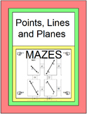 """POINTS, LINES, AND PLANES: FOLDABLE NOTES & 2 MAZES (MAZES ARE PDF""""s OR GOOGLE)"""
