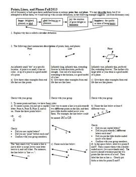 Points Lines Planes And Angles Worksheets & Teaching