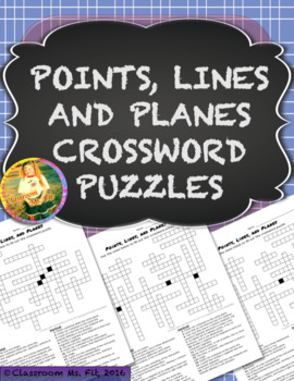 Points, Lines, and Planes Geometry Crossword Puzzles {Five Versions}