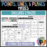 Points, Lines, and Planes Mazes (GOOGLE Slides) Distance Learning