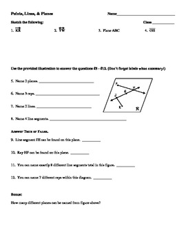 Lines, Rays and Line segments Worksheets