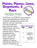 Points, Planes, Lines, Segments, and Rays Self Quiz Sheets for Geometry