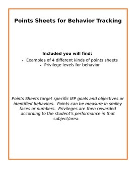 Points Sheets for Monitoring Behavior
