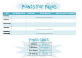 Points for Pages Reading Incentive Log in Blue