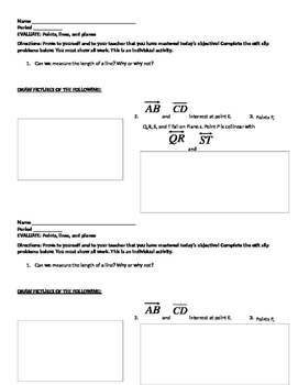 Points, lines and planes exit ticket