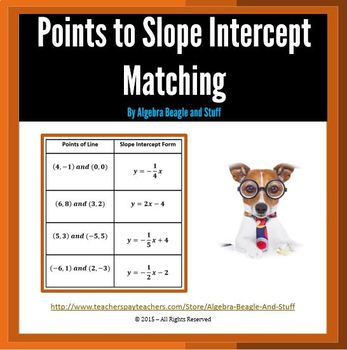 Points of a Line to Slope Intercept Matching Activity