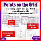 Points on the Grid (set a) reasoning about 1-quadrant grid task cards/printables