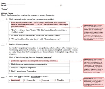"""Poison"" Keystone/Common Core Standards Aligned Quiz and Explanatory Key"
