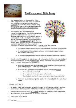 "Poisonwood Bible ""Cultural Conflict"" Essay Assignment (+ planning & rubric)"