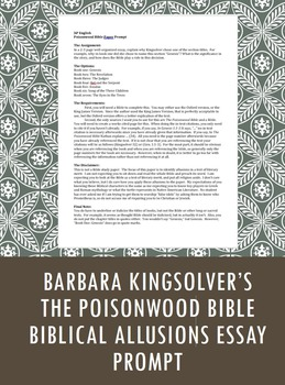 Poisonwood Bible Paper Prompt