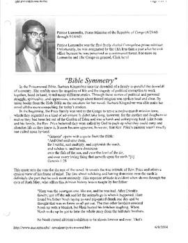 Poisonwood Bible teaching materials