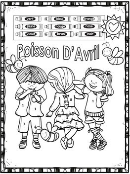 Poisson D'Avril April Fool's Day French Colouring Page