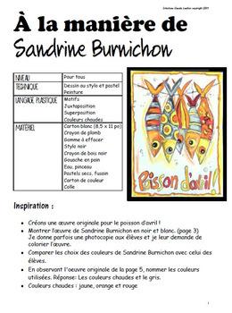 Poisson d'avril : À la manière de Sandrine Burnichon - arts plastiques