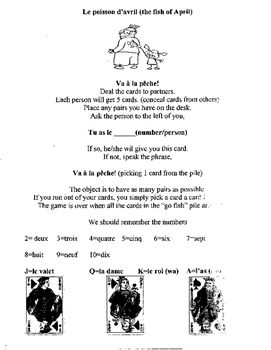 Poisson d'avril April Go Fish French card game rules sheet Discovering Bleu